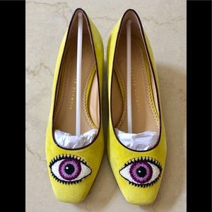 Charlotte Olympia embroidered suede yellow pumps36